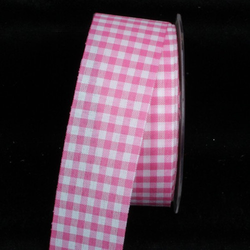 "Pink and White Gingham Cut Edge Ribbon 1.5"" x 132 Yards - IMAGE 1"
