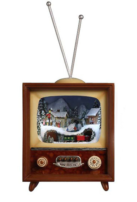 """Set of 2 Brown and White LED Lighted Musical Christmas TV Box Figurines 10"""" - IMAGE 1"""