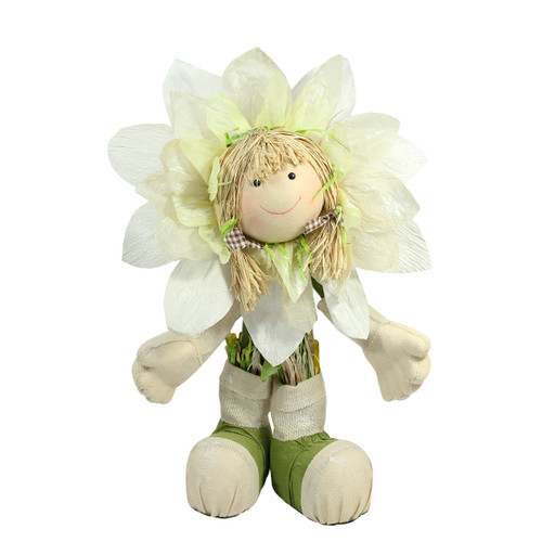 "29"" Ivory, Green and Yellow Spring Floral Standing Sunflower Girl Decorative Figure - IMAGE 1"