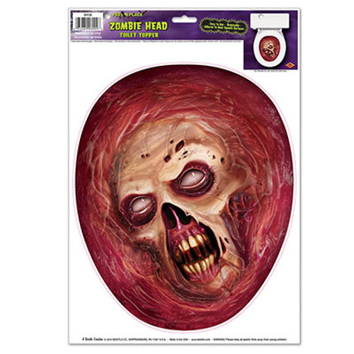 """Club Pack of 12 Zombie Head Toilet Topper Peel 'N Place Halloween Decorations 13.5"""" - IMAGE 1"""