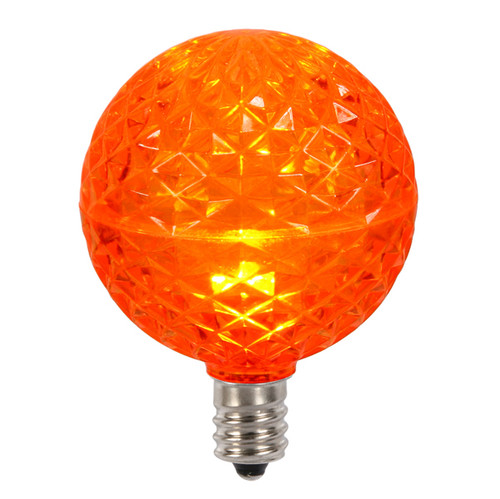 Club Pack of 25 LED G50 Orange Replacement Christmas Light Bulbs - E12 Base - IMAGE 1
