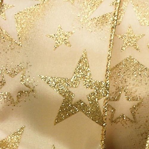 "Gold Stars Christmas Wired Craft Ribbon 2.5"" x 40 Yards - IMAGE 1"