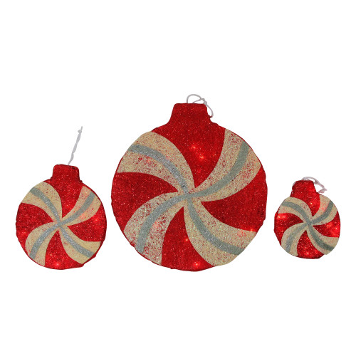 """Set of 3 Red and Ivory Peppermint Twist Lighted Glitter Christmas Decor 16"""" - IMAGE 1"""