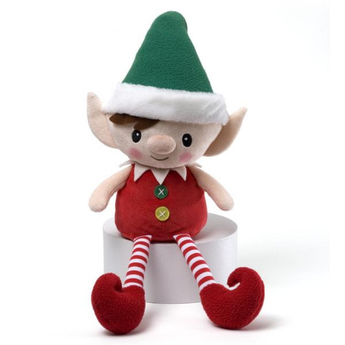 """16"""" Red, Green and White Striped Plush Personalized Magic Message Christmas Elf - IMAGE 1"""