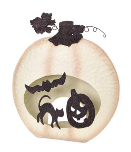 "14.75"" White and Black Jack-O-Lantern, Bat and Cat design Design Pumpkin Pillar Candle Holder - IMAGE 1"