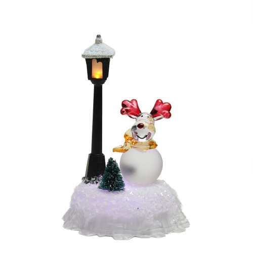 "5"" LED Lighted Color-Changing Reindeer with Lamp Post Christmas Table Top Figure - IMAGE 1"