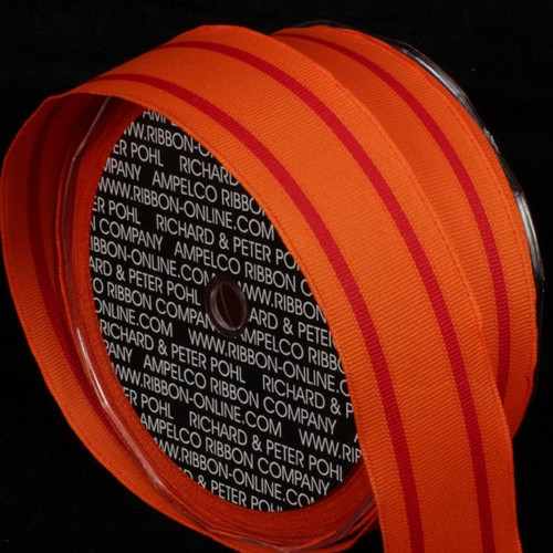 """Orange and Red Striped Wired Craft Ribbon 1.5"""" x 27 Yards - IMAGE 1"""