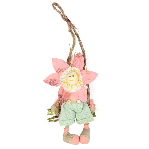 "23"" Pink, Green and Tan Spring Floral Hanging Sunflower Girl Decorative Figure - IMAGE 1"