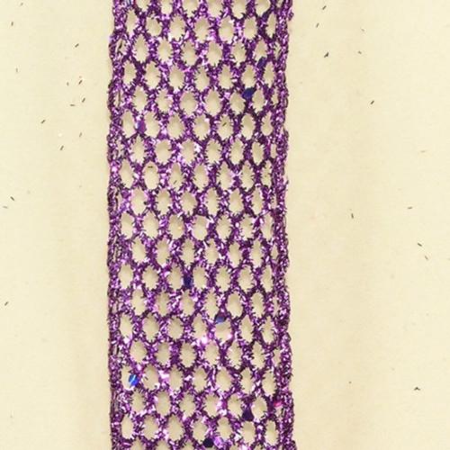 "Purple Metallic Wired Mesh Craft Ribbon 0.11"" x 20 Yards - IMAGE 1"