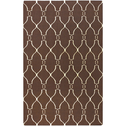 8' x 11' Forest Life Ivory and Brown Hand Woven Rectangular Wool Area Throw Rug - IMAGE 1