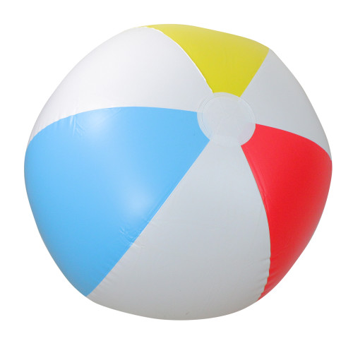 """36"""" White and Blue 6-Panel Color Blocked Beach Ball - IMAGE 1"""