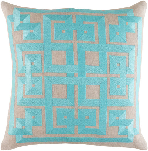 """20"""" Sky Blue and Abalone Gray Square Throw Pillow - Down Filler - IMAGE 1"""