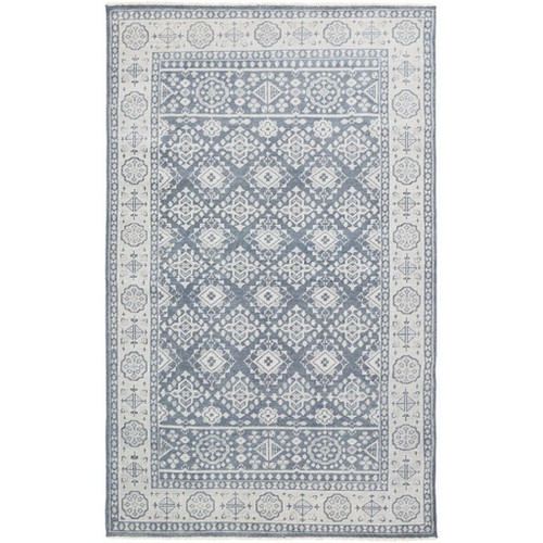 5.5' x 8.5' Traditional Gray and Blue Hand Knotted Wool Area Throw Rug - IMAGE 1