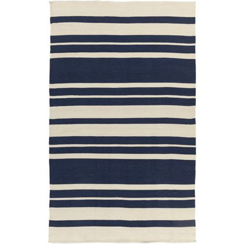 8' x 11' Striped Navy Blue and White Hand Woven Outdoor Area Throw Rug - IMAGE 1