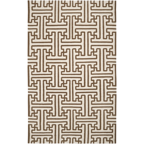 3.5' x 5.5' Winter White and Brown Wool Area Throw Rug - IMAGE 1