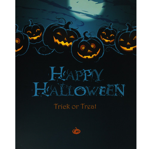 "Blue and Black LED Lighted Jack-O'-Lanterns Happy Halloween Wall Art 23.5"" x 19.75"" - IMAGE 1"