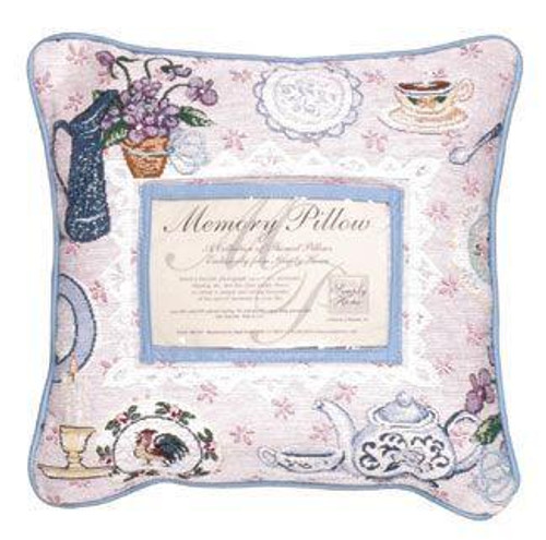 """12"""" Pink and Blue Floral Tea Party Themed Square Throw Pillow - IMAGE 1"""