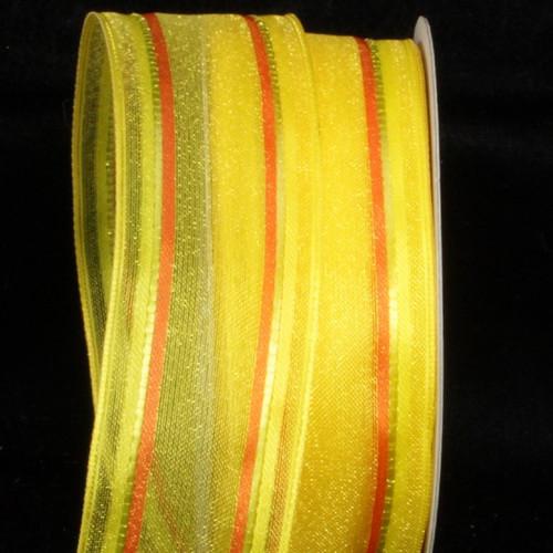 "Yellow and Orange Striped Wired Craft Ribbon 1.5"" x 54 Yards - IMAGE 1"