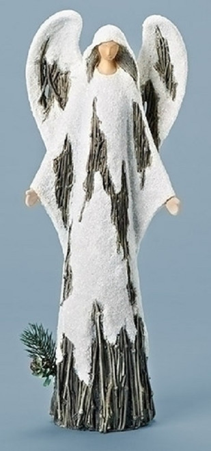 """15.5"""" Brown and White Holy Angel Christmas Tabletop Decor - IMAGE 1"""