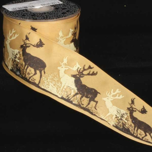 """Brown and Ivory Elk Wired Craft Ribbon 2.5"""" x 27 Yards - IMAGE 1"""