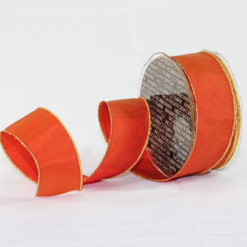 """Orange and Gold Solid Wired Craft Ribbon 1.5"""" x 27 Yards - IMAGE 1"""