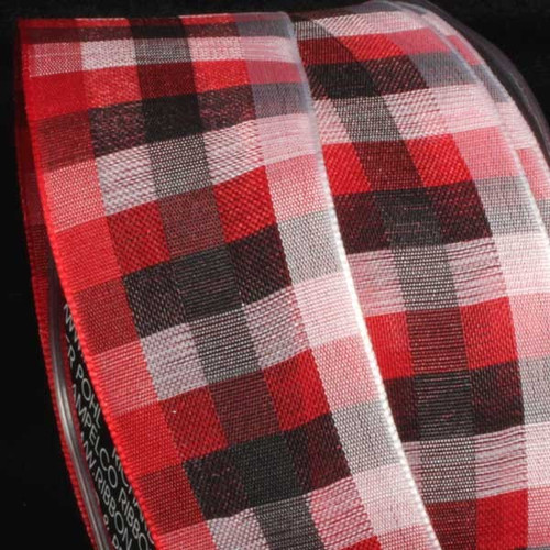 """Red and Black Plaid Wired Craft Ribbon 1.5"""" x 50 Yards - IMAGE 1"""