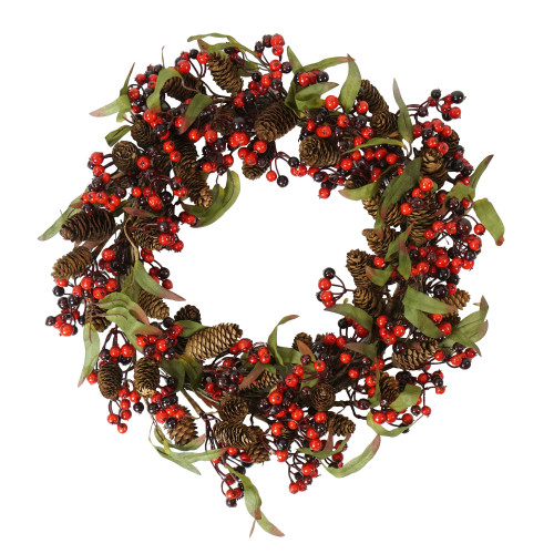 Red and Black Berry with Pine Cone Artificial Christmas Wreath - 20-Inch, Unlit - IMAGE 1