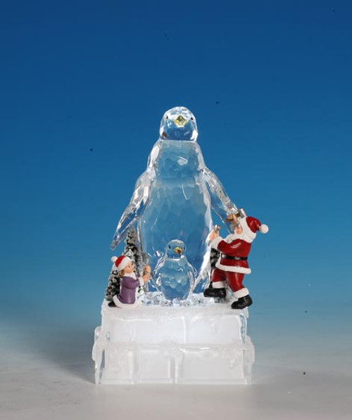 """Set of 2 Clear and Red Decorative Christmas Penguin Ice Sculpture Figurines 8"""" - IMAGE 1"""