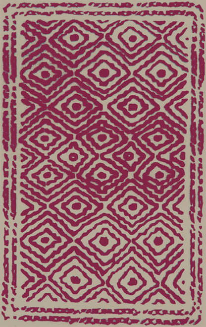 2.5' x 8' Bright Red and Beige Hand Woven Wool Throw Rug Runner - IMAGE 1