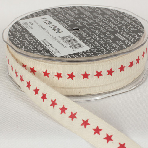 "Ivory and Red Star Printed Woven Edge Craft Ribbon 0.62"" x 60 Yards - IMAGE 1"
