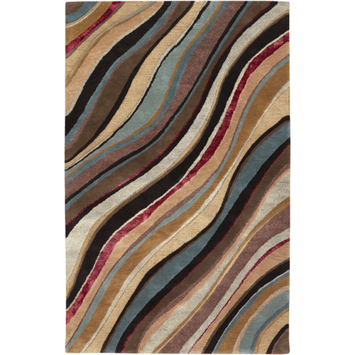 8' x 11' Brown and Beige Rectangular New Zealand Wool Area Throw Rug - IMAGE 1