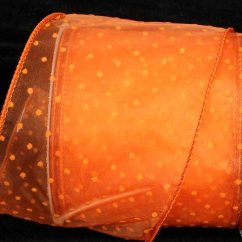 "Orange Polka Dotted Wired Craft Ribbon 2.5"" x 40 Yards - IMAGE 1"