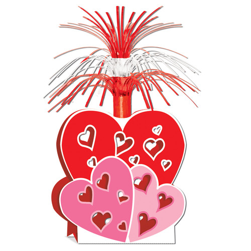 """Club Pack of 12 Red, Pink and White Metallic Valentine Centerpiece Table Decorations 15"""" - IMAGE 1"""