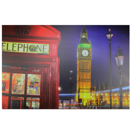 """LED Lighted Famous Big Ben and Red Telephone Box London Canvas Wall Art 15.75"""" x 23.5"""" - IMAGE 1"""