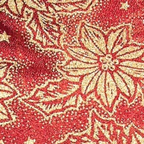 """Red and Gold Holly Flower Wired Craft Ribbon 2.5"""" x 20 Yards - IMAGE 1"""