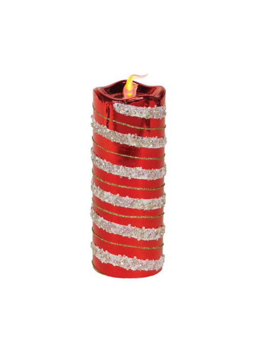 "8"" Red and Gold Glitter Striped Flameless LED Christmas Pillar Candle - IMAGE 1"