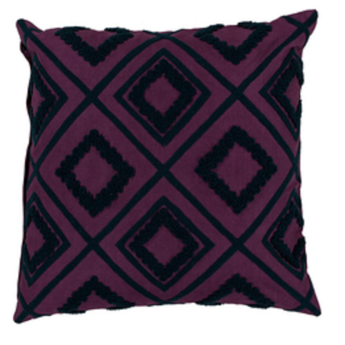 """22"""" Black and Purple Diamond Contemporary Square Throw Pillow - Down Filler - IMAGE 1"""