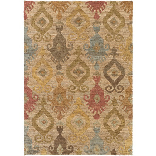 2' x 3' Contemporary Beige and Green Rectangular Area Throw Rug - IMAGE 1