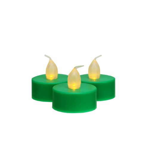 """Set of 3 Battery Operated LED Flickering Amber Lighted Green Christmas Tea Light Candles 1.5"""" - IMAGE 1"""