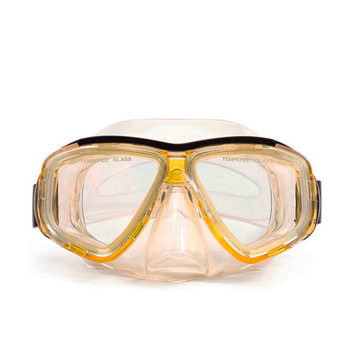 "6.25"" Malibu Yellow and Clear Pro Mask Swimming Pool Goggles - IMAGE 1"