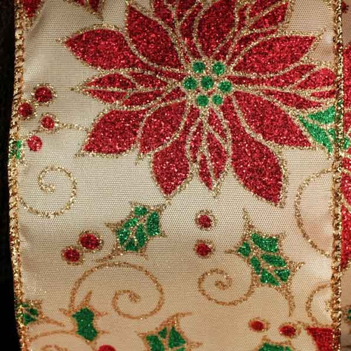"""Ivory and Red Floral Poinsettia Wired Edge Craft Ribbon 3"""" x 20 Yards - IMAGE 1"""