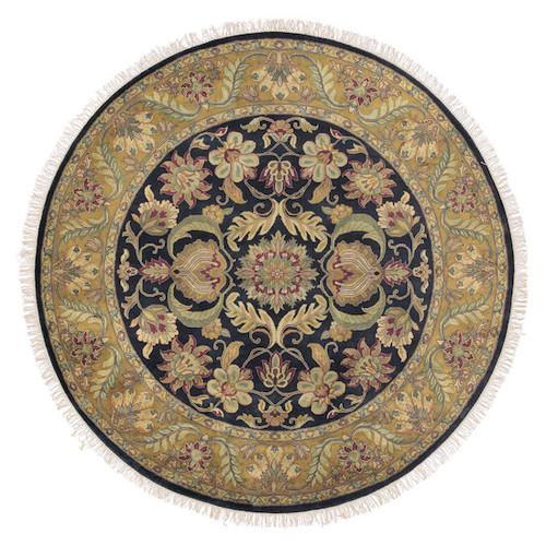 8' Floral Green and Black Hand Knotted Round Wool Area Throw Rug - IMAGE 1
