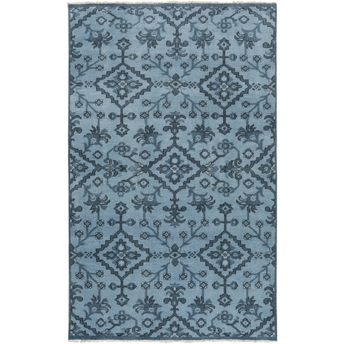 5.5' x 8.5' Medallion Blue and Gray Hand Knotted Wool Area Throw Rug - IMAGE 1