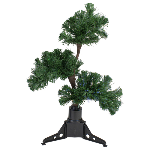 2' Pre-Lit Fiber Optic Bonsai-Style Artificial Pine Christmas Tree - Multi - IMAGE 1