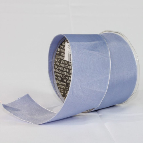 """Blue and Silver Solid Wired Craft Ribbon 2.5"""" x 27 Yards - IMAGE 1"""