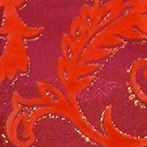 "Pink and Orange Glitter Swirl Wired Craft Ribbon 2.5"" x 20 Yards - IMAGE 1"
