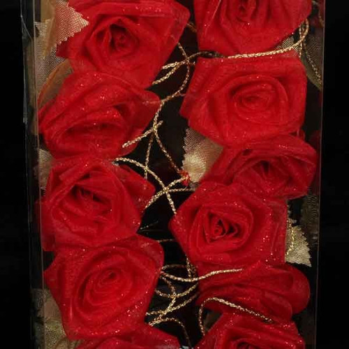 Red and Gold Rose Flower Wired Craft Garland 54' - IMAGE 1