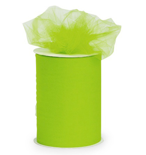 "Lime Green Contemporary Tulle Craft Ribbon 6"" x 275 Yards - IMAGE 1"