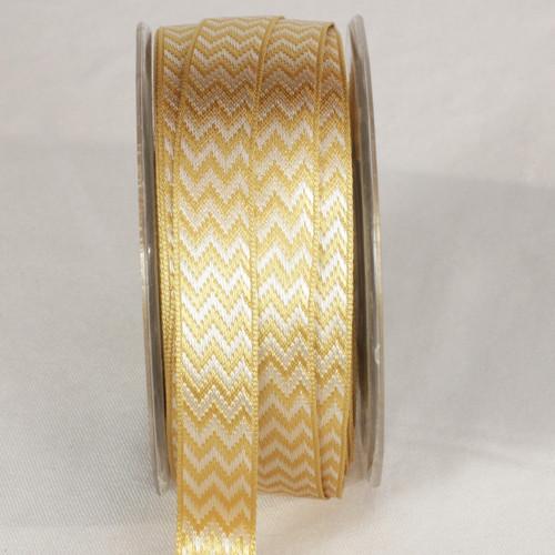 "Gold Chevron Ivory Wired Ribbon 0.25"" x 54 yards - IMAGE 1"