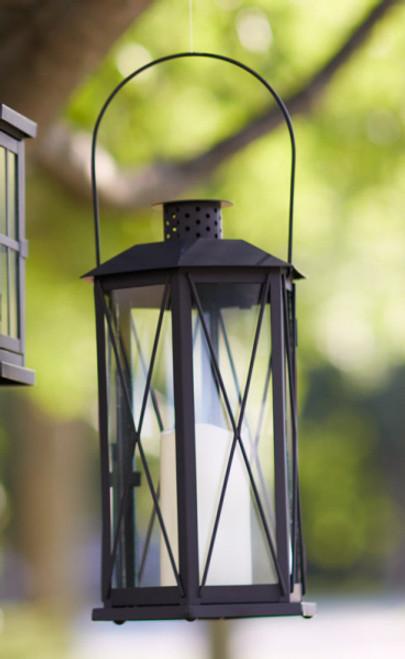 "14.5"" Black Cottage Style Glass Lantern with LED Flameless Pillar Candle - IMAGE 1"